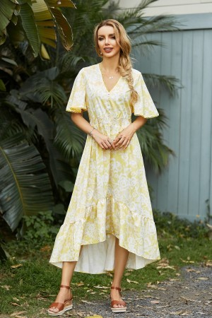 V Neck Short Sleeves Button Detail Floral High Low Maxi Dress
