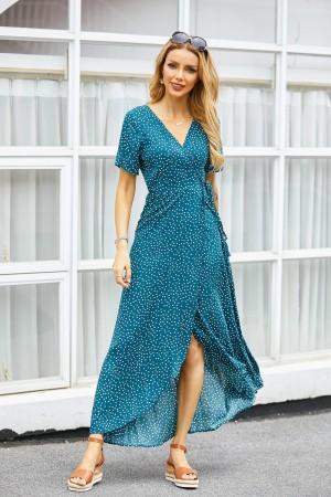 V Neck Short Sleeves Polka Dot Wrap Maxi Dress