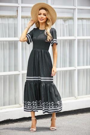 Round Neck Short Sleeves Elastic Waist Smocked Maxi Dress