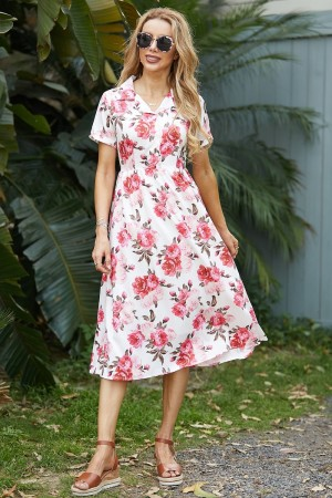 Ribbed Collar Short Sleeves Button Detail Floral Midi Dress