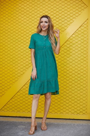 Casual Round Neck Short Sleeves Button Detail Dress