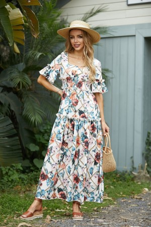 Bell Sleeves Square Neck Mix Floral Maxi Dress
