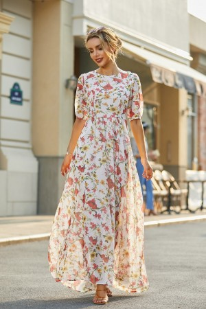 Round Neck Half Sleeves Floral Chiffon Maxi Dress