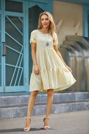 Round Neck Short Sleeves Solid Tiered Dress