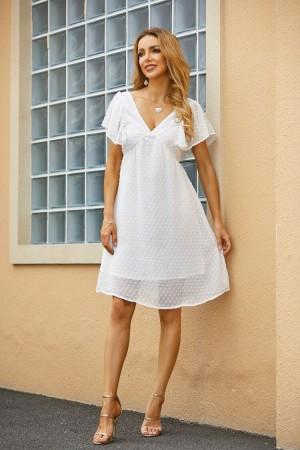 Bell Sleeves Plunge Neck Ruffles Mini Dress
