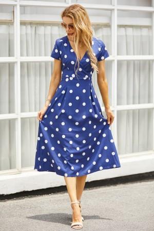 Plunge Neck Short Sleeves Polka Dot Midi Dress