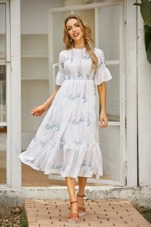 Round Neck Short Sleeves Smocked Tiered Chiffon Midi Dress