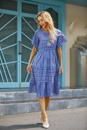 Round Neck Short Sleeves Bohemian Print Stitching Midi Dress