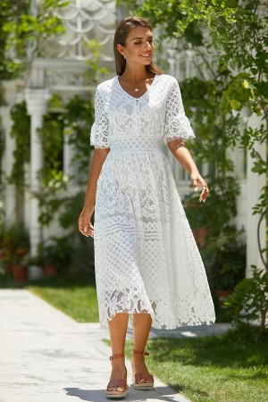 Round Neck Half Sleeves Button Detail Lace Embroidery Midi Dress