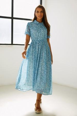 Shirt Collar Short Sleeves Button Detail Floral Midi Dress