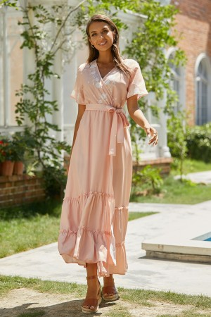 V Neck Short Sleeves Tie Waist Floral Wrap Maxi Dress