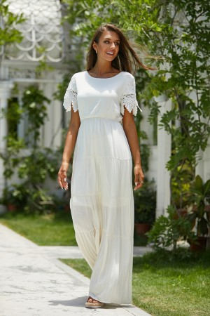 Round Neck Short Sleeves Elastic Waist Solid Maxi Dress