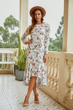 Round Neck Long Sleeve Tie Waist High Low Floral Midi Dress