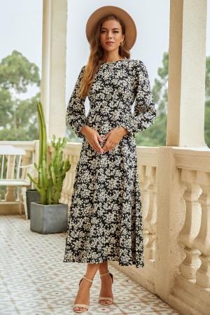 Round Neck Long Sleeve Elegant Floral Maxi Dress