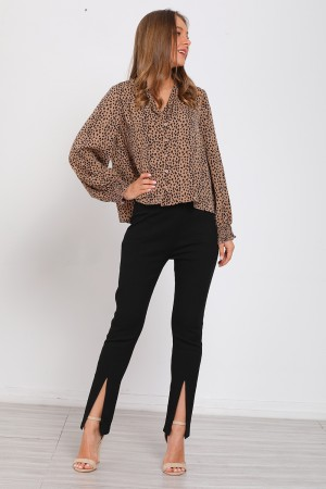 Leopard Print V-Neck Long Sleeve Tops