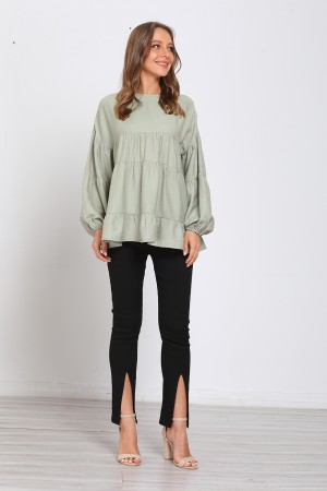 Olive Long Balloon Sleeve Round Neck Tops