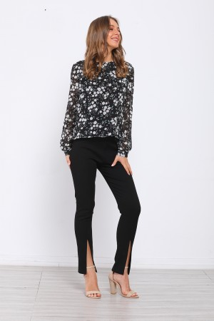 Black Floral Round Neck Long Sleeve Top