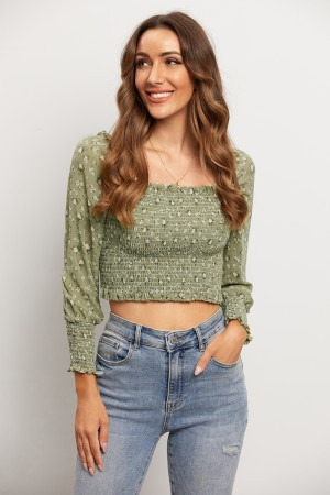 Square Neck Long Sleeve Smocked Floral Crop Top