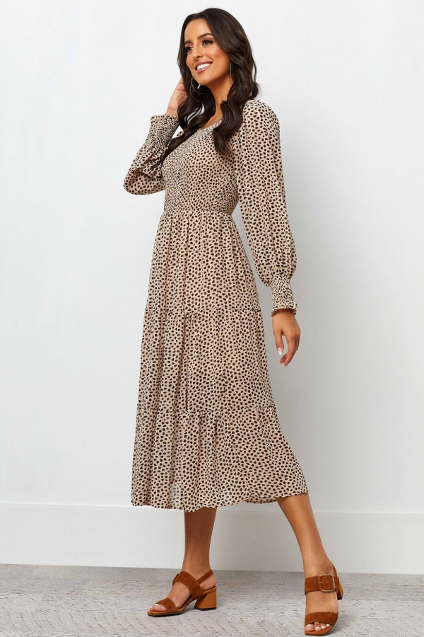 Round Neckline Long Sleeves Elasticised Waist Midi Dress