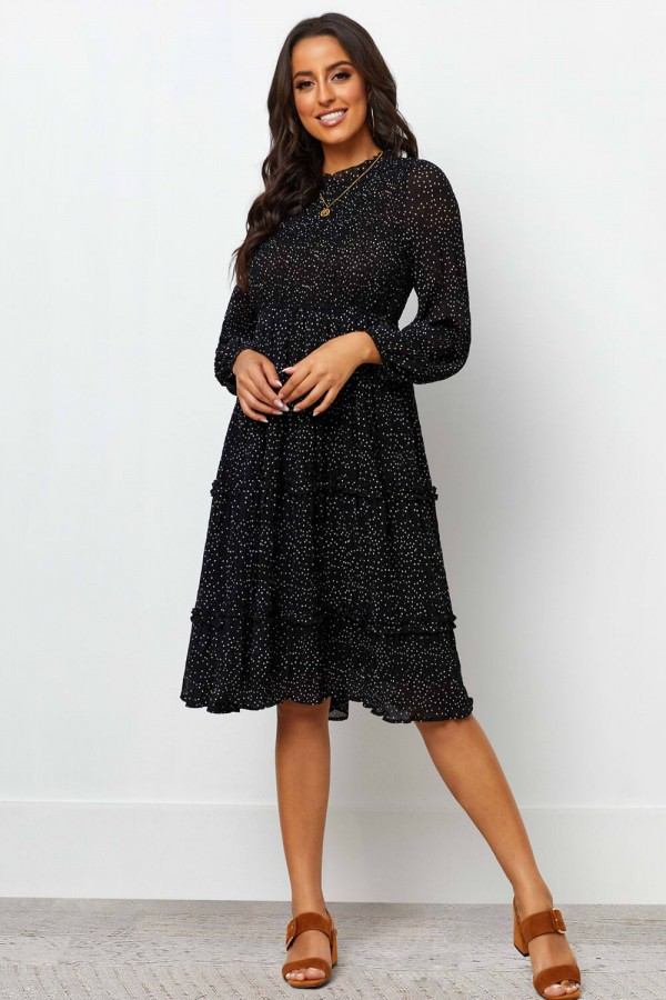 Round Neckline Shirred Bodice Long Sleeves Midi Dress