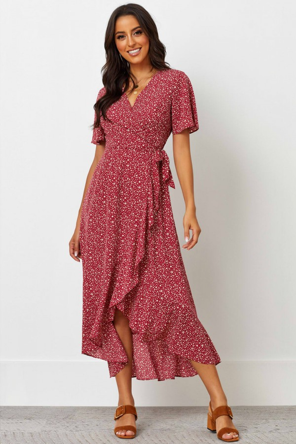 V Neckline Short Sleeves Tie Waist Midi Dress