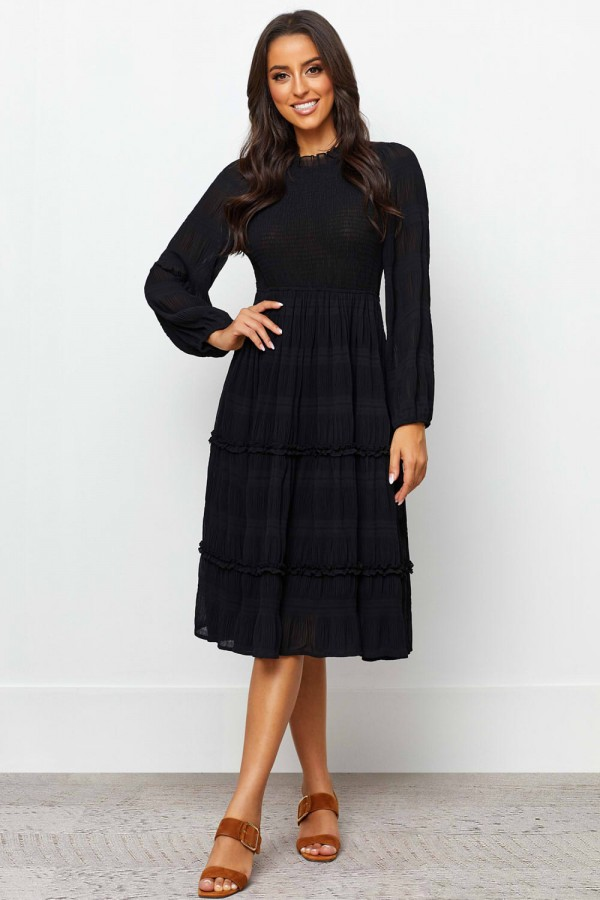 Round Neckline Elasticised Waist Long Sleeves Midi Dress