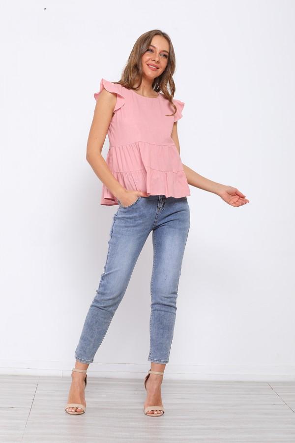Ruffles Sleeves Round Neck Pink T-shirt