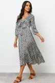 V Neckline 3/4 Length Sleeves Ruffle Hem Midi Dress