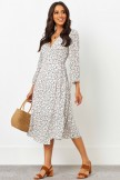 V Neckline Long Sleeves With Elasticised Cuff And Tie Detail Midi Dress