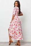 V Neckline Half Sleeve With Elasticated Cuff Maxi Dress