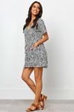 V Neckline Short Sleeves Front Pockets Short Dress