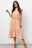 High Elasticised Neckline Short Ruffle Sleeves Maxi Dress