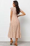 V Neckline Short Sleeves Front Tie Detail Maxi Dress